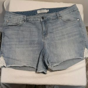 Torrid Lace Jean Shorts